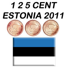 1 + 2 + 5 CENT 2011 ESTONIA ESTLAND ESTONIE ESTÔNIA FDC UNC