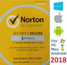 NEW Norton SECURITY DELUXE 2018 3 Devices AntiVirus for Windows Mac Android iOS