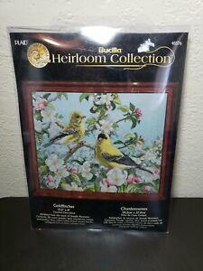 Bucilla Heirloom GOLDFINCHES Cross Stitch Kit 13.5x11 J Hautman New Sealed 45576