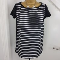 Max Mara Top Cap Sleeves Shirt White and Navy Striped Size UK 10 EU 34