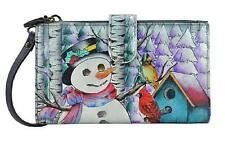 Womens Anuschka Wallet With Smart Phone Case Snowman Messenger CrossBody Handbag