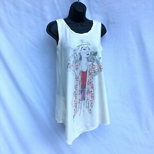 D-Signed by Disney Girls XL Sleeveless Graphic Tunic Top Floral Chiffon Tie Back