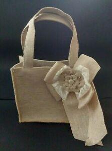 Burlap Flower Basket Wedding White Lace Floral Flower Studio His & Hers Tan Brn