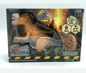 Remote Controlled BROWN T-Rex Dinosaur RC Toy Lifelike Movement Walking New Box