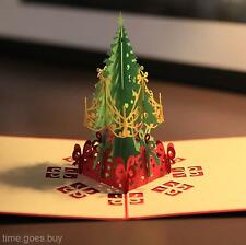 2016 Novel 3D Pop Up Christmas Tree Handmade Best Wish Greeting Card Kirigami
