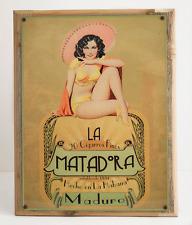 La Matadora Maduro Cuban Cigars Metal Sign Framed on Rustic Wood,  Hecho en Haba