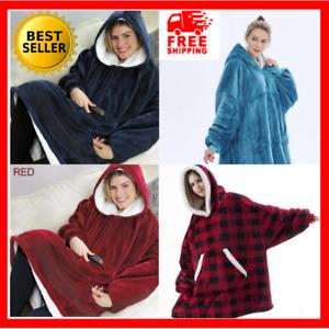 Oversized Blanket Hoodie Adult Fleece With Pocket Sweatshirt Ultra Plush Comfy