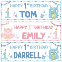 2 personalised happy 1st birthday banner baby animal owl boy girl party poster