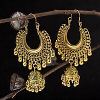 Vintage Bohemian Gold Silver Big Earrings Hook Drop Bell Women's jhumka Earrings