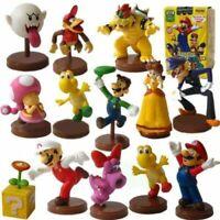13 pcs Super Mario Bros Toy Figures Set Luigi Toad Yoshi Bowser Wario Waluigi