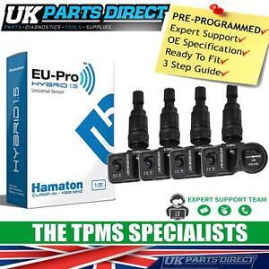 TPMS Tyre Pressure Sensors for Jaguar XKR (06-14) - SET OF 4 - BLACK STEM - CODE