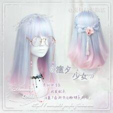 Kawaii Sweet Lolita Harajuku Cute Pink+Blue Gradient Cosplay Princess Wig Hair
