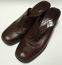 Women's Clarks CURTIS Brown Mules Heels Shoes Slip-Ons Size 10M
