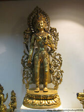 "27""Tibet Lhasa Fane pure Bronze 24K Gold Turquoise Padmapani Kwan-yin Statue"