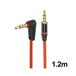 3.5mm Audio Cable - Replacement Headphones Cable - 1.2m - Gold Plated - Red - E