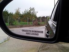 """2x """"OBJECTS IN MIRROR ARE LOSING"""" Stickers for Side Mirrors Wing Mirror Funny"""