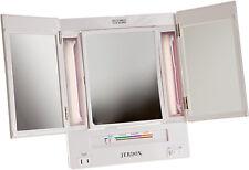 Jerdon 5X Magnification Tri-Fold Lighted Makeup Vanity Mirror JGL9W NEW! Adjusts