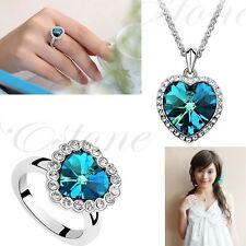 Titanic Heart of Ocean Charm Blue Crystal Rhinestone Necklace Ring Jewelry Set