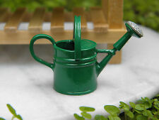 Miniature Dollhouse FAIRY GARDEN Accessories ~ 2-Handle Green Tin Watering Can