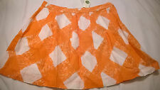 BNWT Boden linen skirt size 12 lined orange white summer