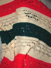 Hand Crafted Crochet Afghan  Throw Blanket ~ green white and red design