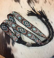NATIVE DESIGN Handmade Beaded Hatband HAT BAND TURQUOISE GENUINE STERLING SILVER