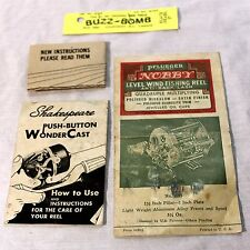 Vintage Pflueger 'Nobby' Fishing Reel and Shakespeare manuals & Buzz-Bomb Lure