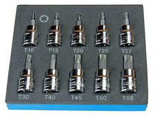 """10pc Bergen Screwdriver Torx Star Bit Sockets Set T10 - T55 3/8"""" Drive New"""