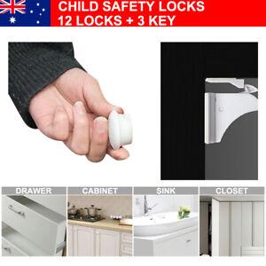 12X Magnetic No Drilling Cabinet Drawer Cupboard Locks Baby Kids Safety Lock Set