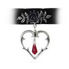 New Alchemy Gothic Wounded Love Black Rose Heart Choker Necklace P740