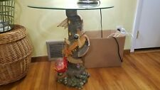 """LARGE 23"""" dragon medieval throne statue end bedside table night stand glass top"""