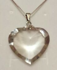 Casa Clear Quartz Crystal Faceted Heart Pendant Necklace Beautiful Sterling