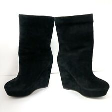 KOOLABURRA UGGS Womens Boots Black Suede Ankle Booties Faux Sherpa Lined Size 6