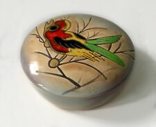 Vintage Rare  Norleans Japan Trinket Candy Dish w/Lid Hand-painted Singing Bird