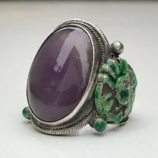 Antique Old Chinese Silver Green Enamel Dragon Cabochon Purple Amethyst Ring