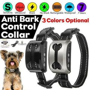 Auto Electric Pet Dog Training Collar Shock Anti-Bark Electronic Rechargeable UK