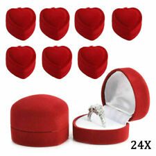 24 RED VELVET HEART SHAPED RING DISPLAY BOXES gift box rings jewelry holder LOT