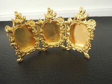 Antique Art Nouveau Miniature French Gilt Bronze Triple Picture Frame