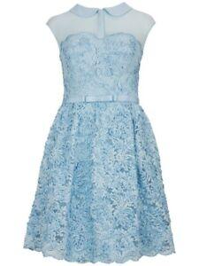 Ted Baker RANNI powder/ baby/light blue lace Peter pan collar dress size 1 UK 8