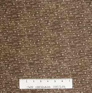 Animal Fabric - Purrsnickitty Cat Words & Yarn on Brown - Red Rooster YARD