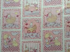 Sewing Fabric Patchwork Quilting PINK RABBITS PICNIC by the metre