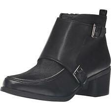 ANNE KLEIN BOOTS SIZE 7.5 BOOTEES BLACK COW FUR TOPS LEATHER RRP $175