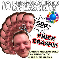 10 PACK OF PERSONALISED DIY FACE MASK KITS - CUSTOM PARTY MASKS TO MAKE AT HOME
