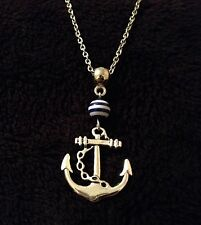 "Anchor Necklace 24"" Chain Blue And White Stripe Charm Bead Rockabilly Vintage UK"