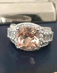 Chuck Clemency STS Morganite & White Topaz Sterling Silver 925 Ring - Sz 7