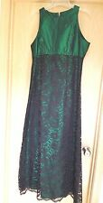 Emerald Green Sleeveless Gown Dress M Black Lace Overlay Handmade Party Maxi