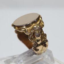 ART NOUVEAU EURO 8K (.333) GOLD ENGRAVABLE NUDE LADY SIGNET RING,10.4 g., size 8