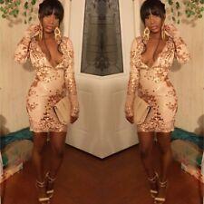 Abito Aperto ricamato Aderente Nudo Pailette Cerimonia Party Sequin Dress S
