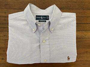 Polo Ralph Lauren New Purple White Stripe Cotton Shirt Oxford Cloth 16 Classic