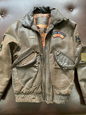 Express Leather Bomber Jacket w/ Military Europe Patches Fighter Pilot Size Med
